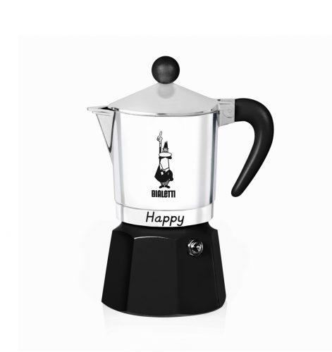 Cafetera Italiana Bialetti Happy 3 Tazas Negra