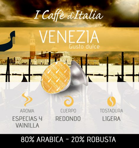 BOX 16 Cápsulas Café espresso sabor Venezia descripción