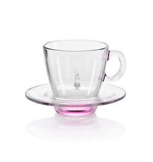 Taza para café espresso en vidrio rosado