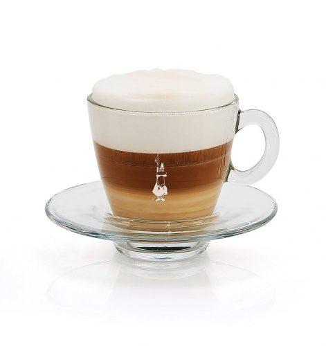 Taza para café espresso en vidrio trasparente-con café macchiato