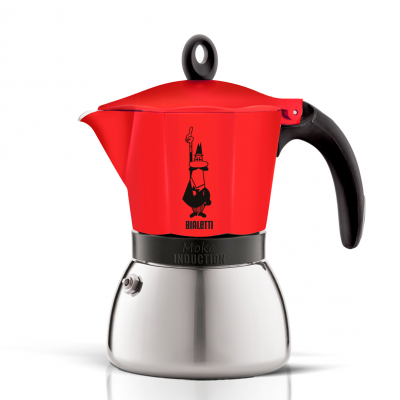 Cafetera Italiana Bialetti Moka Induction 6 Tazas Roja