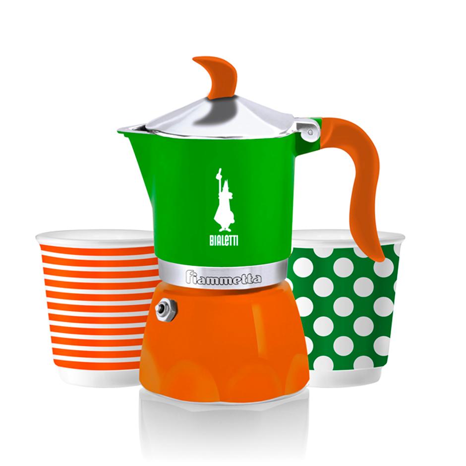 SET Cafetera Fiammetta 3 Tz + 2 Vasitos Verde:Naranja