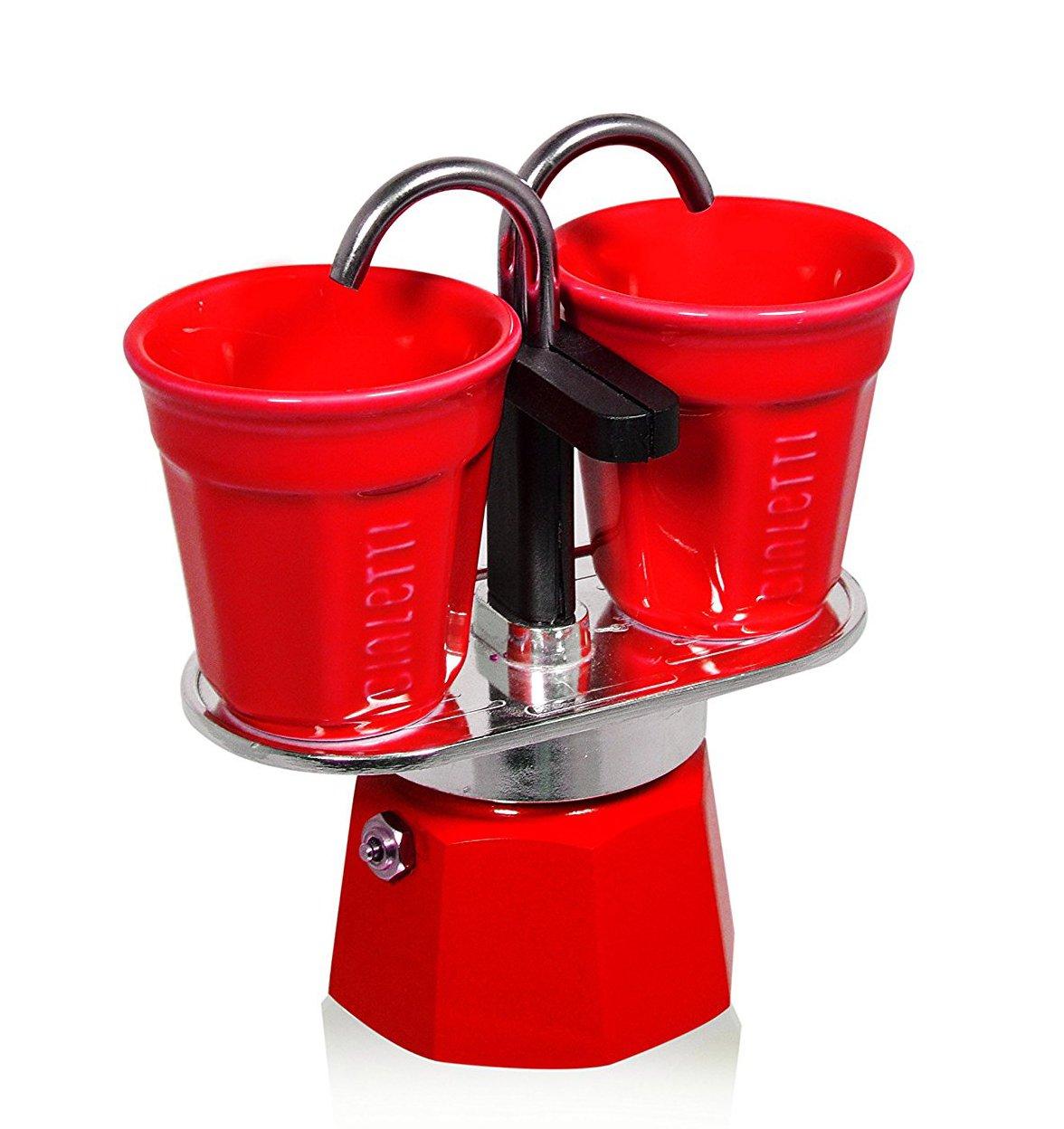 Bialetti Mini Express Set cafetera de Aluminio 2 Tazas Color Rojo con 2 vasitos para el caf/é Color Rojo
