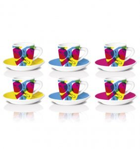 set de 6 tacitas Fantasia para espresso en porcelana Bialetti