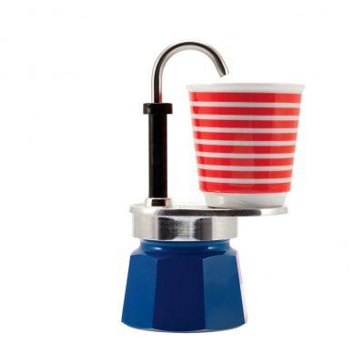 Set Cafetera Mini Express 1 TZ Azul + 1 Vasito POP