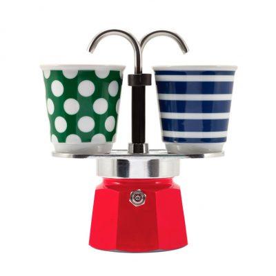 Set Cafetera Mini Express 2 TZ Rojo + 2 Vasitos POP