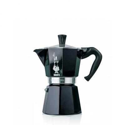 Cafetera Italiana Bialetti MOKA Color 3 Tazas Negro