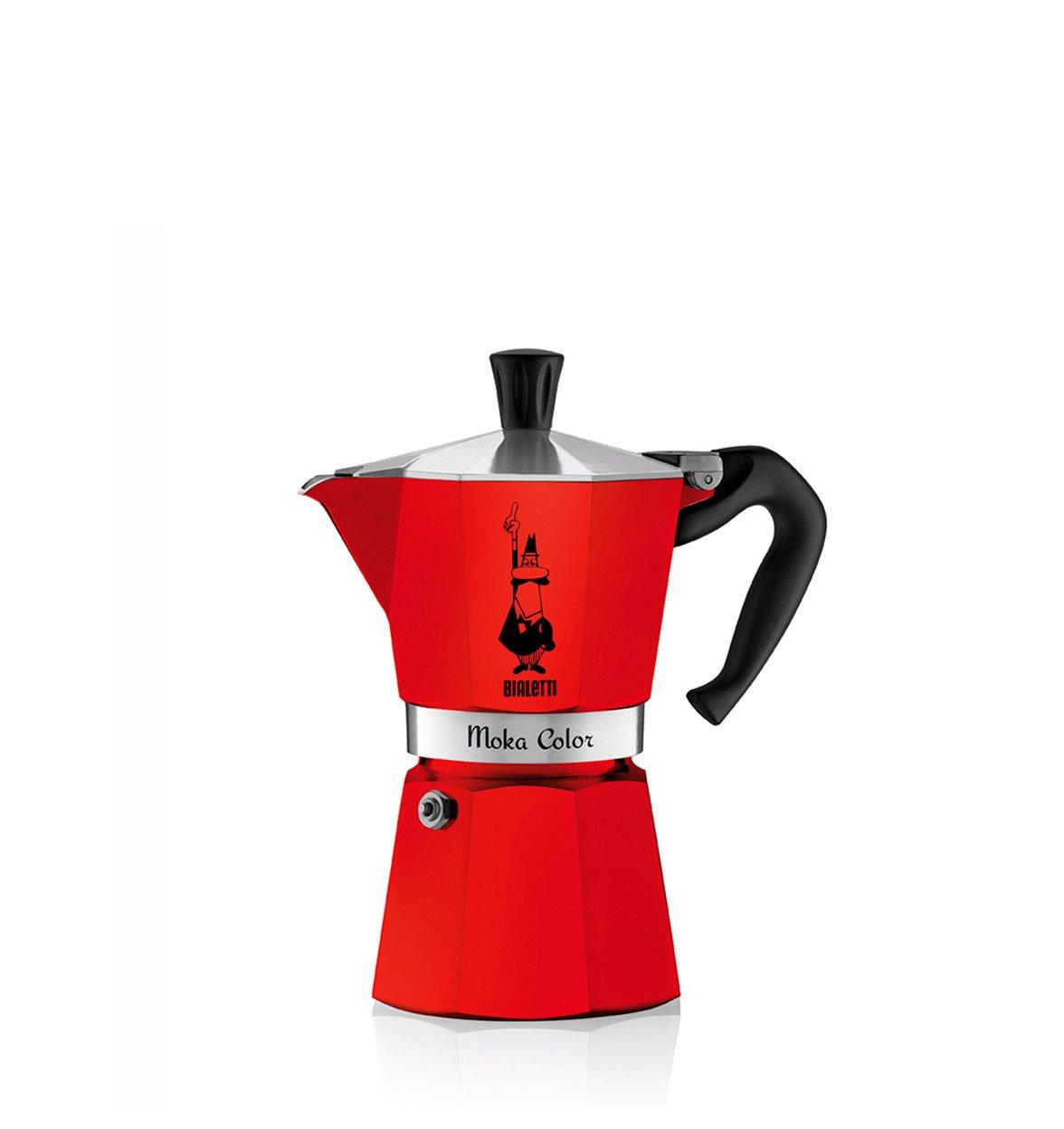 Cafetera Italiana Bialetti MOKA Color 3 Tazas Rojo