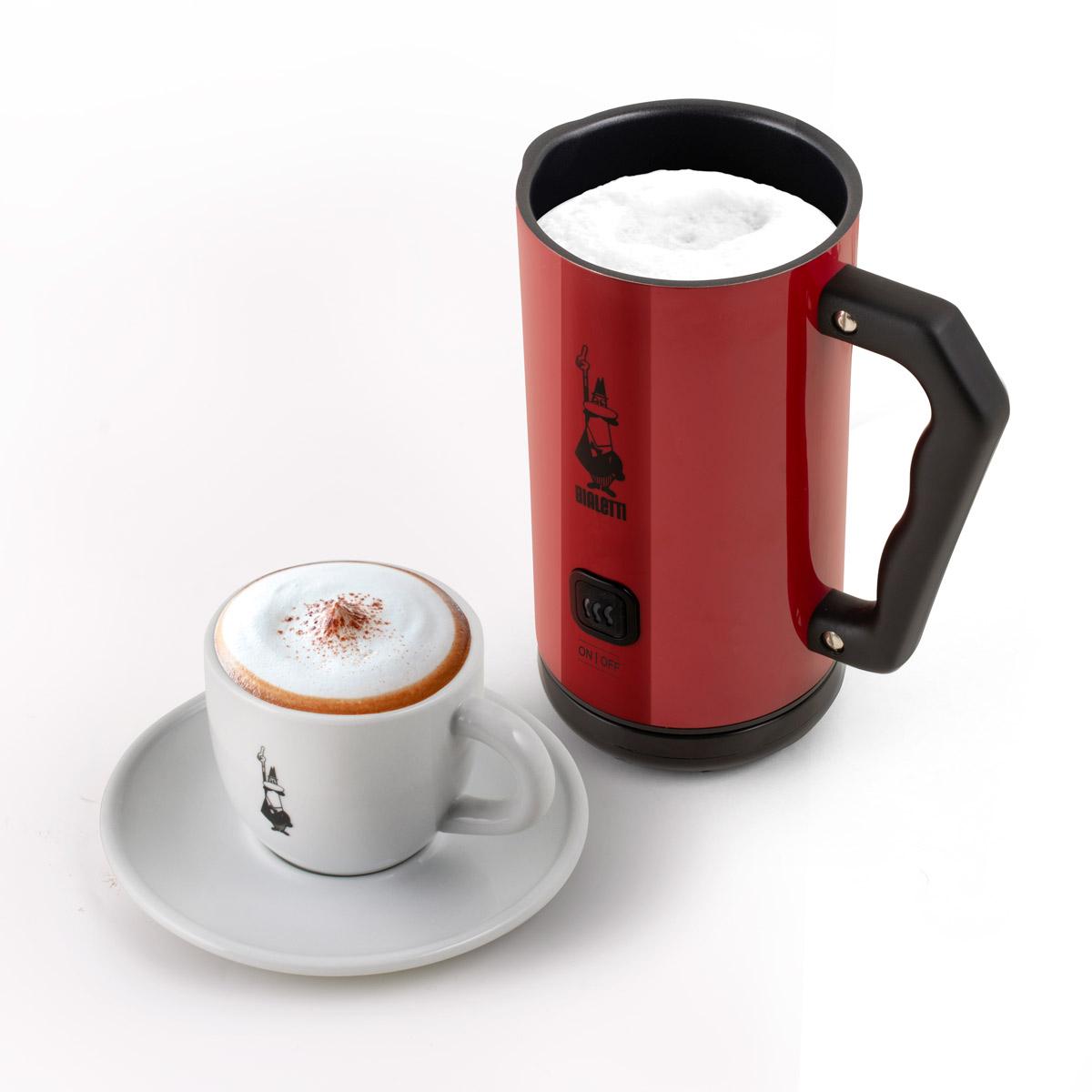 Milk Frother Espumador de leche eléctrico automático rojo y taza de cappuccino Bialetti