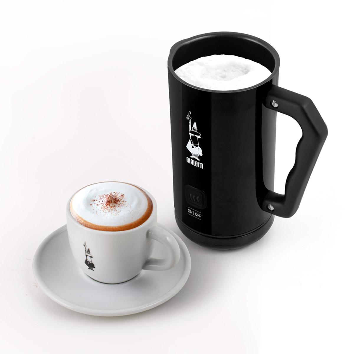 Milk Frother Espumador de Leche Eléctrico automático negro y taza de cappuccino Bialetti