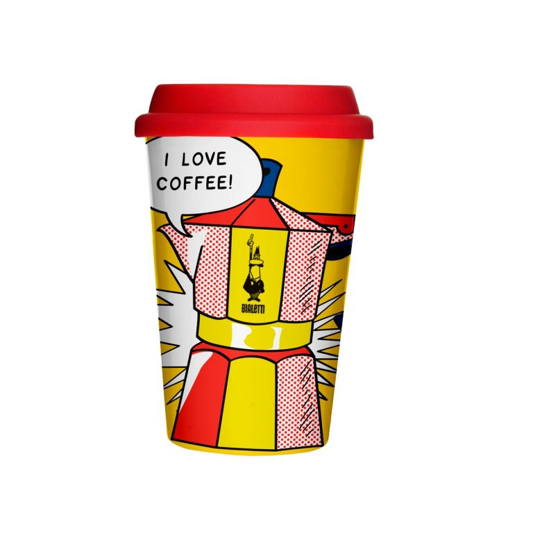 Vaso térmico personalizado para llevar Café Mug Take Away Lichtenstein Bialetti Perú