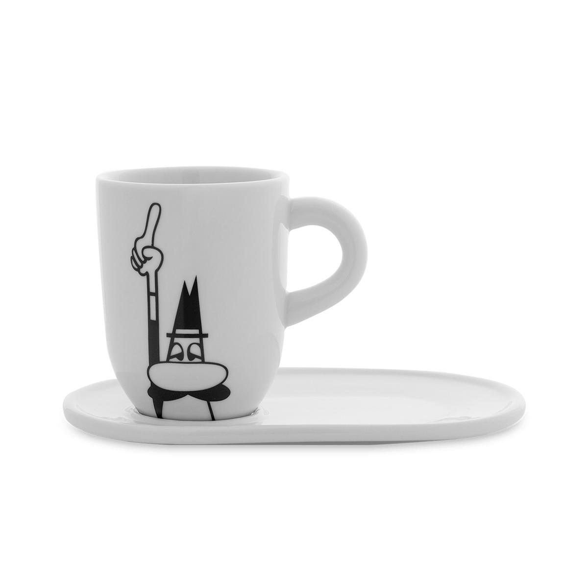 Mug de porcelana con platillo Bialetti
