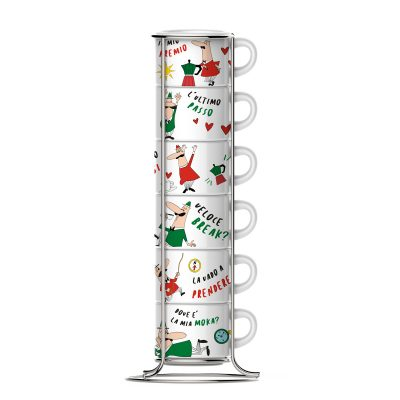 Set 6 Tazas Apilable para Espresso Linea Italia