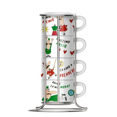 Set 4 Tazas Apilable para Cappuccino Linea Italia