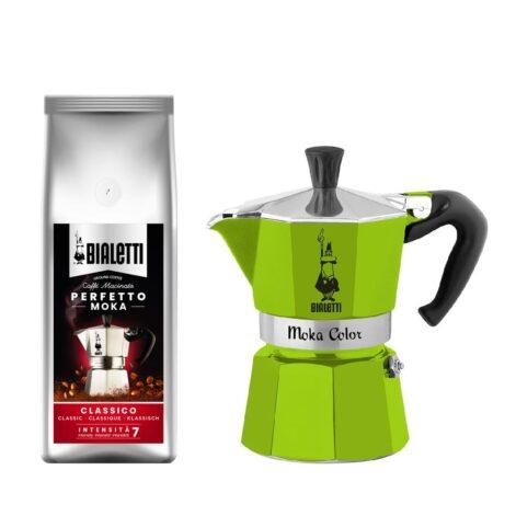 Cafetera Moka Color Verde 3 Tazas + 1 Café Perfetto Moka Classico