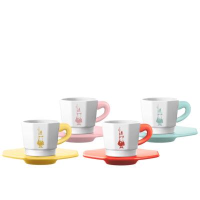 Set 4 Tazas Octagonales Primavera Para Espresso